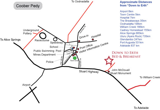 Map of Coober Pedy